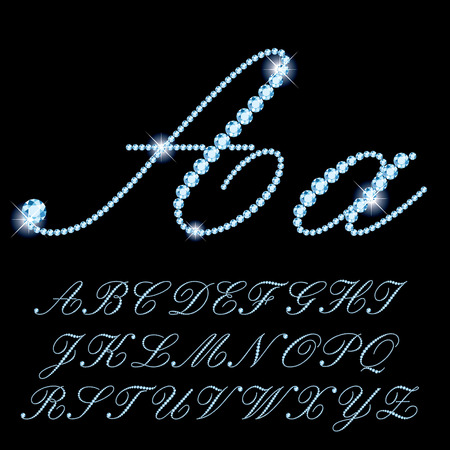 scripts: vector detailed script alphabet with diamonds and sparkles