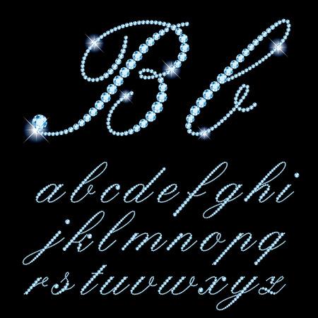 script: vector script alphabet with diamonds