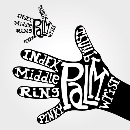pinky: hand fingers names with hand drawn letters