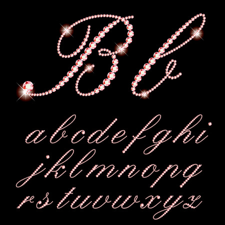 script: vector script alphabet with rubys