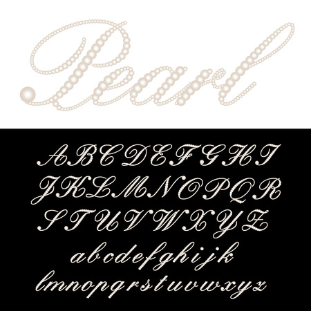 pearl: vector alphabet with pearls Illustration