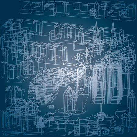 roof profile: vector blueprint drawing of the old european town space