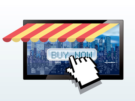 buy button: vector hand cursor push buy button on tv screen with skyscrapers metropolitan background