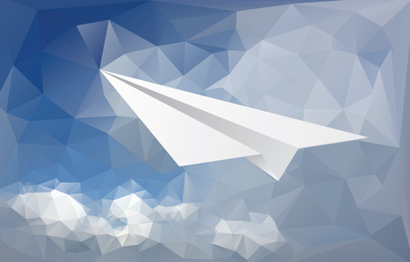 high angle view: vector abstract background with paper plane over paper sky and clouds