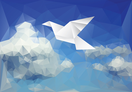 vector ilustration with paper bird on paper sky