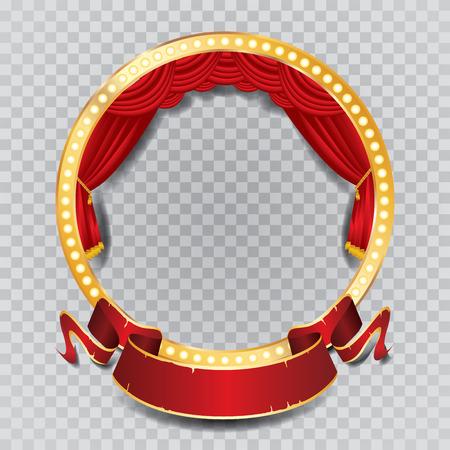 sipario chiuso: palco vettore cerchio con la tenda rossa, cornice dorata, lampade a bulbo e ombra trasparente
