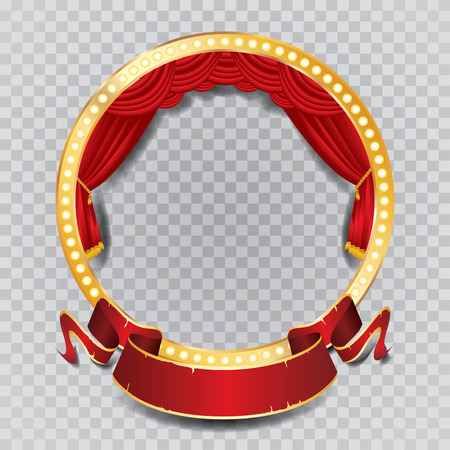 vector circle stage with red curtain, golden frame, bulb lamps and transparent shadow Stock Illustratie
