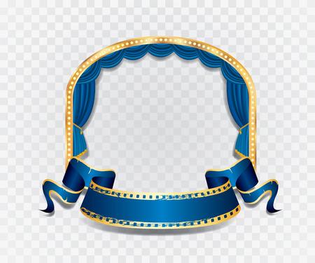 sipario chiuso: palco vettore elipse con tenda blu, cornice dorata, lampade a bulbo e ombra trasparente