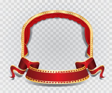 sipario chiuso: palco vettore ellissi con la tenda rossa, cornice dorata, lampade a bulbo e ombra trasparente Vettoriali