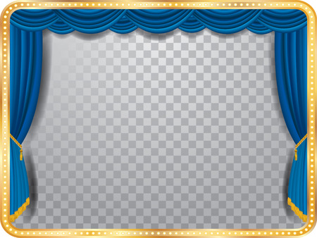 vector stage with blue curtain, golden frame, bulb lamps and transparent shadow Stock Illustratie