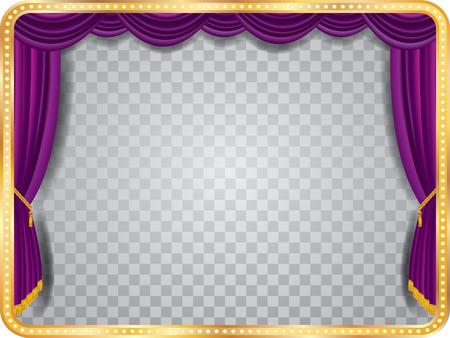 sipario chiuso: fase vettore con tenda viola, cornice dorata, lampade a bulbo e ombra trasparente