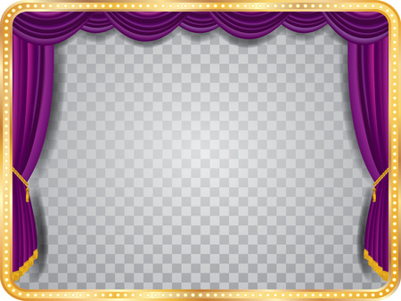 vector stage with purple curtain, golden frame, bulb lamps and transparent shadow Stock Illustratie