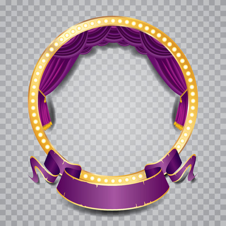 sipario chiuso: palco vettoriale cerchio con tenda viola, cornice dorata, lampade a bulbo e ombra trasparente Vettoriali
