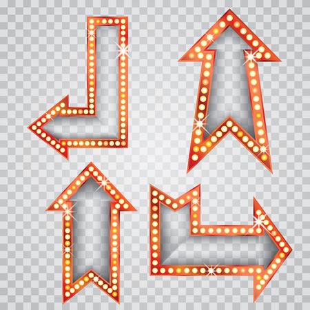 flechas: vector conjunto de flechas transparentes en blanco de oro con lámparas de bulbo