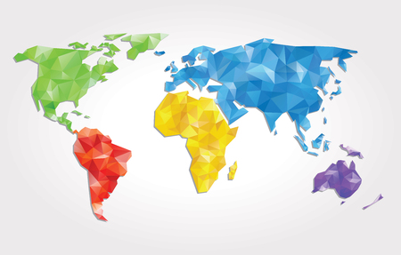 the map of the world: abstract vector background with world map with triangles