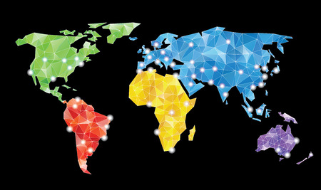 color separation: abstract vector background with world map with triangles
