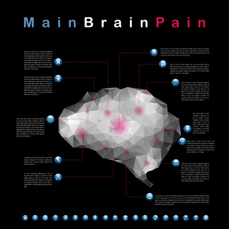 physiology: centers of headache, abstract infographic vector Illustration