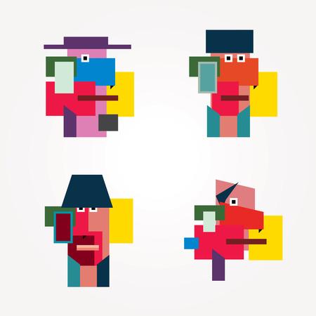 cubismo: hombre sencillo geométrica se enfrenta en el estilo del cubismo
