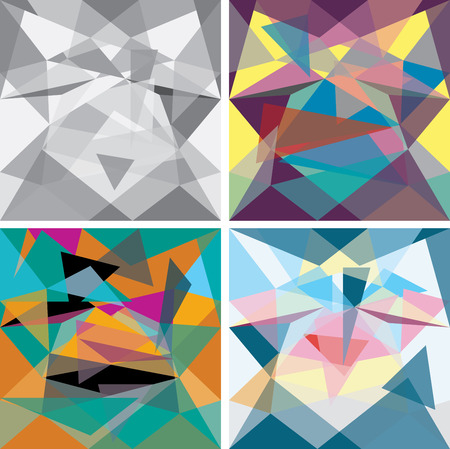 pattern corporate identity orange: set of four vector abstract geometric compositions