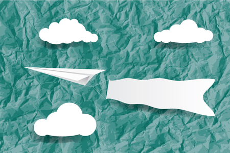wrinkly: vector illustration of the paper plane with banner on the wrinkly paper background with clouds