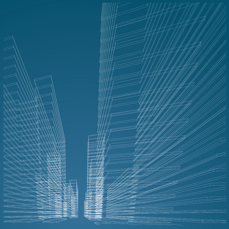 in perspective: vector abstract architetural blueprint with wireframe buildings
