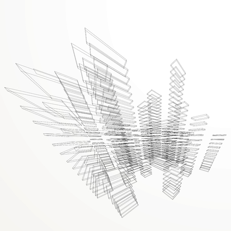 line drawing: abstract architectural background with wireframe buildings