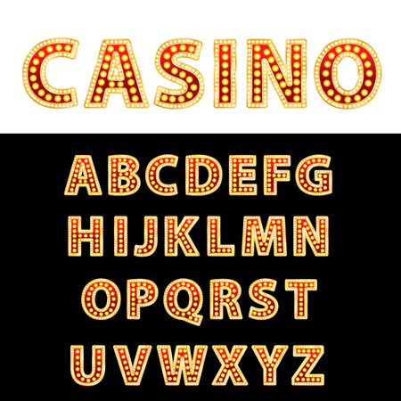 textual: vector golden and red entertainment or casino letters with bulb lamps