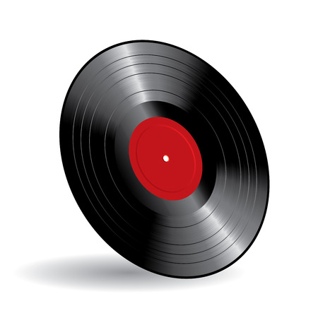 album: vector vinyl long play record with blank red label Illustration