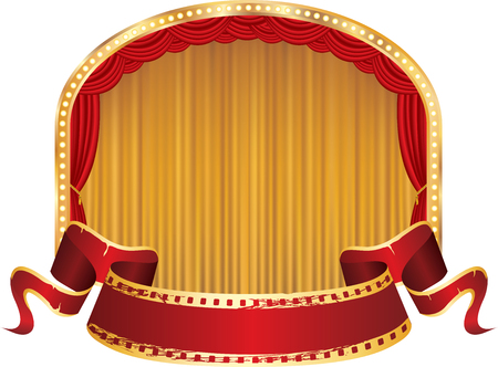 las vegas strip: vector perforated red blank banner on ellipse stage with red and golden curtain Illustration