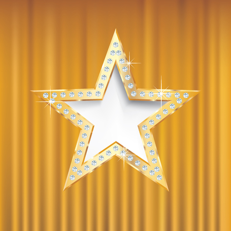 bussiness card: golden star on golden velvet with diamond screws,vector template for cosmetics, show business or something else