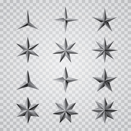 4 star: set of vector metal transparent stars