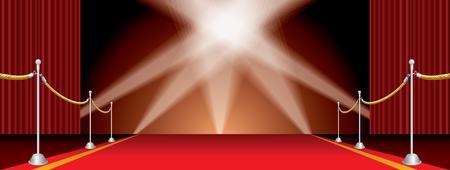 vector wijd open podium met rode loper en vijf schijnwerpers