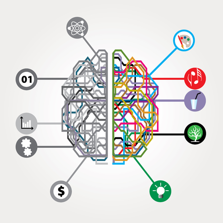 abstract digital brain with left and right human brain hemispheres Illustration