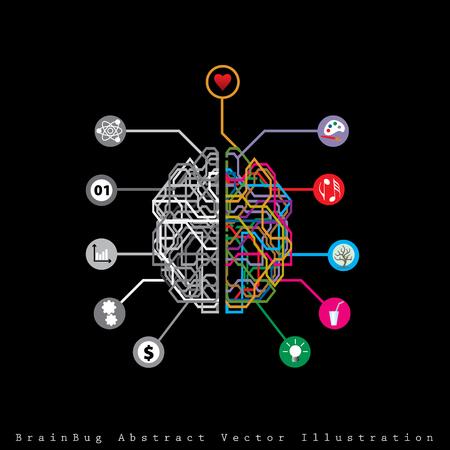 왼쪽과 오른쪽 인간의 뇌 반구와 버그 같은 추상적 인 디지털 뇌