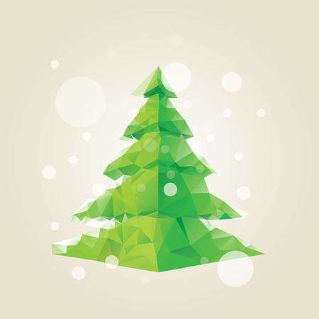 minimalist: geometrical low poly pine christmas tree