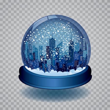 青い雪の世界が付いている都市のクリスマス