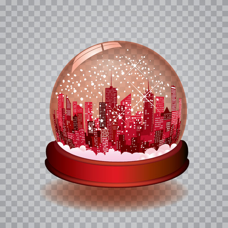 boulevard: Christmas in the city with transparent editable red snow globe
