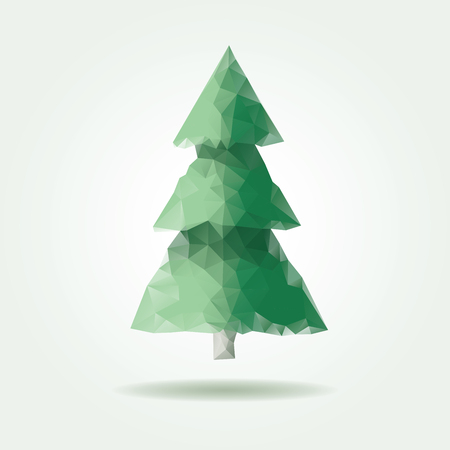 abstract tree: low poly triangle Christmas pine Illustration