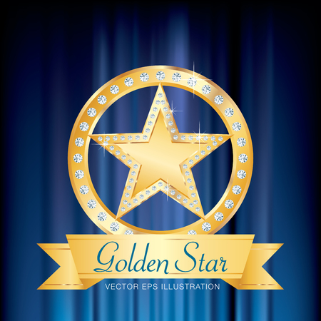 golden star: golden star with diamonds on golden circle stage with banner and blue velvet Illustration