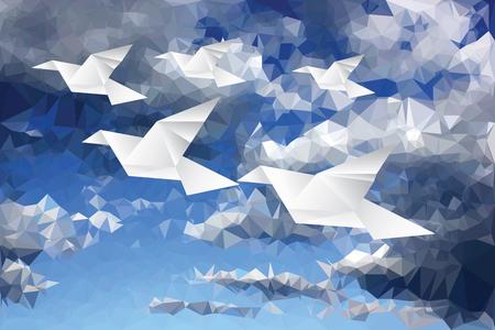 figuras abstractas: ilustración con pájaros de papel origami en nubes de papel, bajo poli