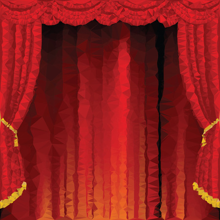 low prizes: low poly empty red stage Illustration