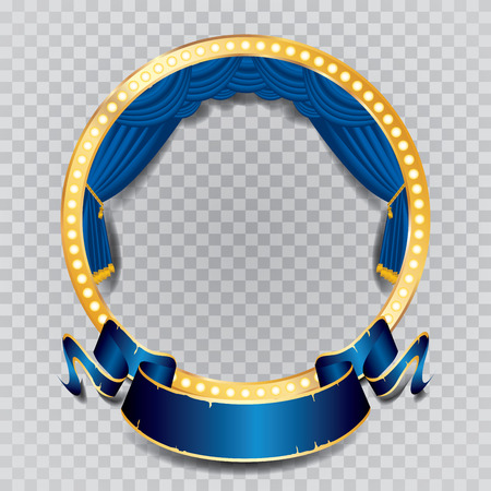 editable: circle stage with blue curtain, golden frame, bulb lamps and transparent shadow Illustration
