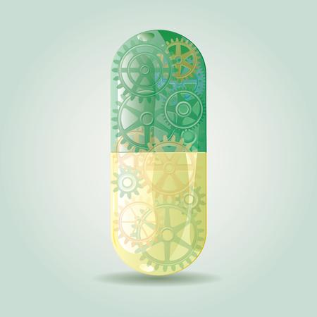 Resumen ilustración vector simbólico con la píldora inteligente verde futurista