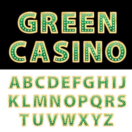 entertainment: vector green casino and entertainment alphabet