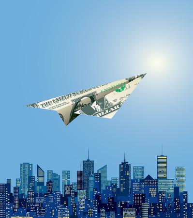 dollars: vector dollar paper plane flying over abstract Manhattan