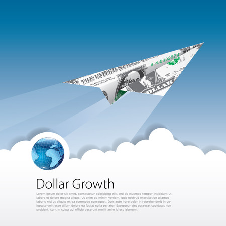 stock market launch: vector symbolic abstract illustration for dollar growing
