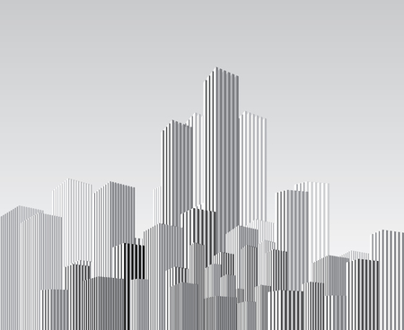 cityscape silhouette: vector abstract cityscape with vertical strips Illustration