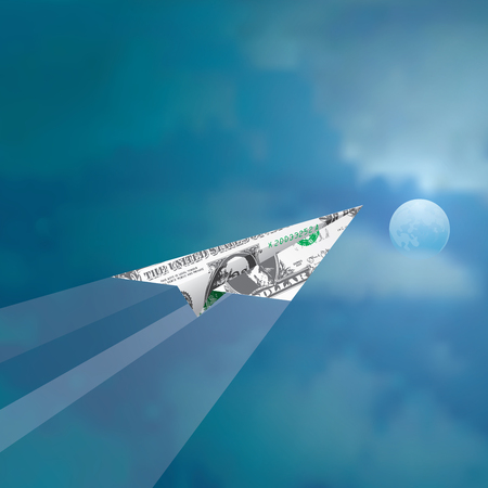 stock market launch: paper plane of one dollar fly in cloudy moonlight sky Illustration