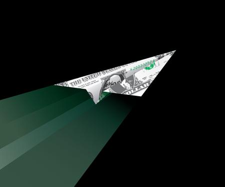 stock market launch: dollar plane flying in dark Illustration