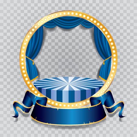 sipario chiuso: palco vettoriale cerchio con tenda blu, cornice dorata, lampade a bulbo e ombra trasparente